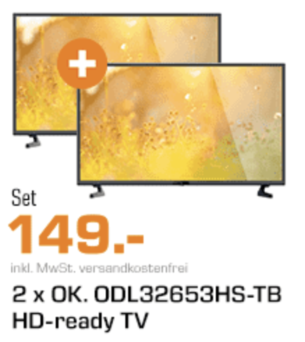 Knaller! 2x den OK. ODL 32653HS-TB 32 Zoll LED Fernseher für nur 149,- Euro inkl. Versand