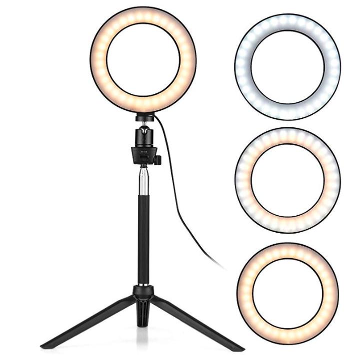 Docooler 6-Zoll-Mini-LED-Ringlicht mit Teleskopstativ (Dimmbar, 3 Beleuchtungsmodi, USB-Betrieb) für nur 16,99 Euro inkl. Versand