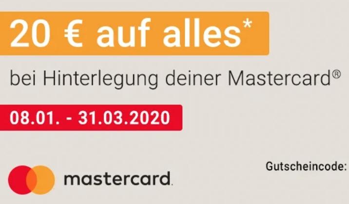 20,- Rabatt ab 70,- Euro Bestellwert bei Zahlung mit Mastercard bei Notebooksbilliger