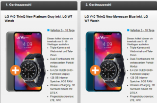 2x LG V40 ThinQ New Smartphone + 2x LG W7 Smartwatch mit o2 Free M + Partnerkarte für 44,98 Euro mtl.