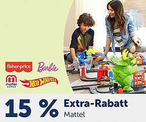 15% Rabatt auf die Marke Mattel bei myToys – z.B. Barbie, HotWheels oder Mattel Games