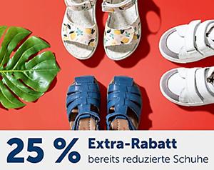 25% Rabatt auf alle bereits reduzierten Schuhe für Kinder im myToys Onlineshop