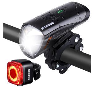 SGODDE LED-Fahrradbeleuchtungs-Set mit StVZO Zulassung und 1300 mAh Akku für 20,29 Euro
