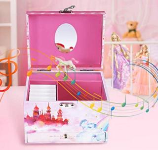 Abody Kinder Schmuckkästchen mit Spieluhr und Schublade für 14,99 Euro statt 25,99 Euro bei Amazon