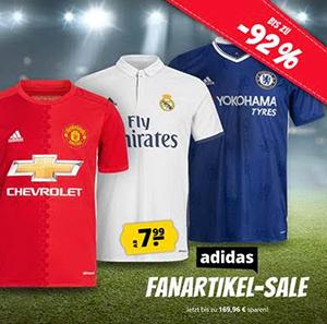 SportSpar: Großer Adidas Fanartikel Sale mit bis zu 92% Rabatt – Trikots, Hosen uvm. ab 6,99 Euro
