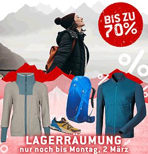 Lagerräumung bei Bergfreunde mit bis zu 70% Rabatt auf über 1.300 Produkte
