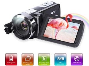GordVE 1080P Camcorder mit 24MP und 3,0 Zoll LCD Display für 29,99 Euro bei Amazon