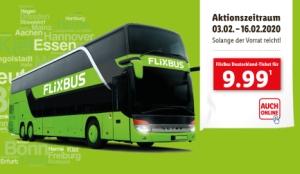 Knaller: Flixbus Gutscheine für alle Direktfahrten nur 9,99 Euro bei LIDL