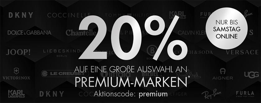 20% Rabatt auf viele ausgewählte Luxus Marken bei Galeria