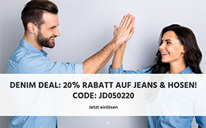 20% Rabatt auf alle Jeans und Hosen für Damen und Herren bei Jeans Direct (MBW: 40,- Euro)