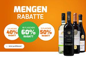 Bis zu 60% Rabatt (je nach Bestellmenge) auf Weine bei Weinvorteil