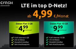Crash-Tarife mit 5GB oder 10GB Daten-LTE Flat (50MBit/s) im Vodafone Netz ab 4,99€ mtl.