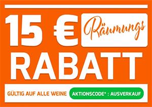 15,- Euro Extra-Rabatt auf alle (auch bereits reduzierte) Weine bei Weinvorteil (MBW: 70,- Euro)