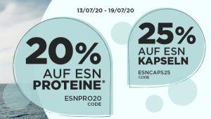 25% Rabatt auf alle ESN Kapselprodukte + 20% Rabatt auf alle ESN Proteine bei Fitmart
