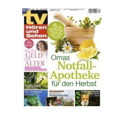 """Halbjahresabo mit 26 Ausgaben der """"TV Hören und Sehen"""" für 65€ und dazu als Prämie 65€ Amazon Gutschein"""