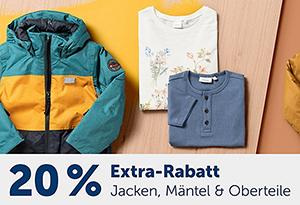 20% Rabatt auf alle Jacken, Mäntel und Oberteile im myToys Onlineshop