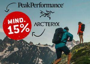 Bergfreunde Onlineshop: 15% Rabatt auf Peak Performance und Arc'teryx!