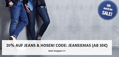 20% Rabatt auf alle Jeans und Hosen für Damen und Herren bei Jeans Direct (MBW: 30,- Euro)