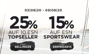 Fitmart: 25% Rabatt auf 10 ESN Topseller, 15% auf ESN Sportswear!