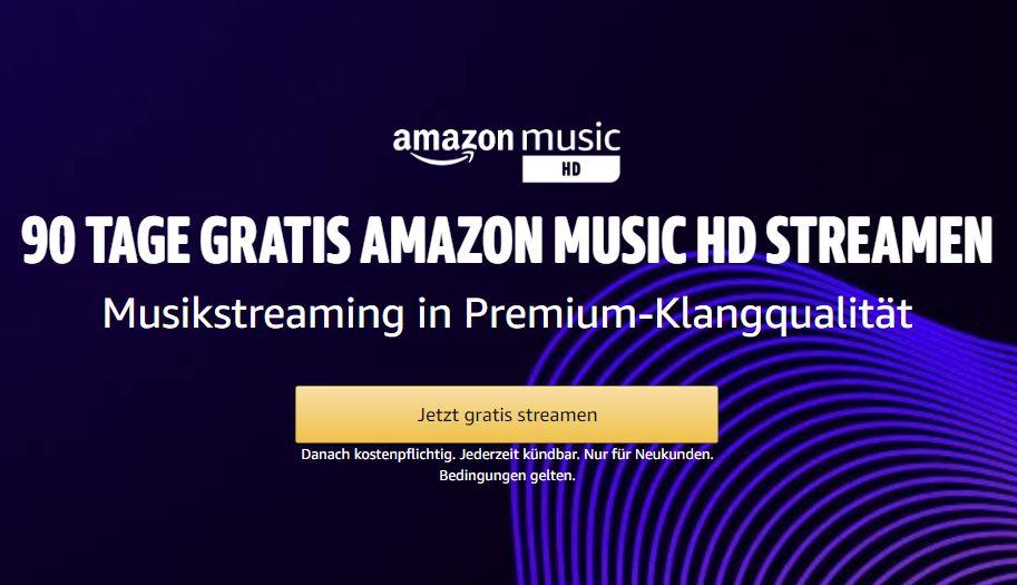 90 Tage Amazon Music HD kostenlos testen – jederzeit kündbar!