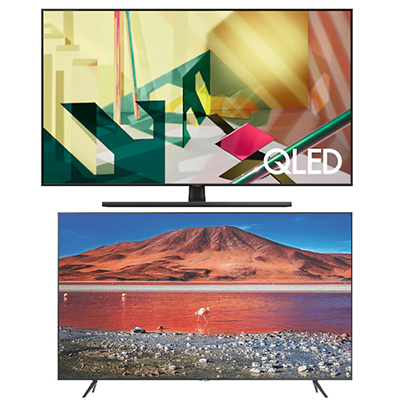 SAMSUNG GQ65Q70TGT QLED TV (65 Zoll, UHD 4K) + SAMSUNG GU 43TU7199 UXZG LED TV (43 Zoll, UHD 4K) für nur 1.367,63 Euro inkl. Versand (statt 1.675,- Euro)