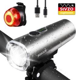 SGODDE LED Fahrradlicht Set mit 600 Lumen und 2.600 mAh Akku für 20,14 Euro