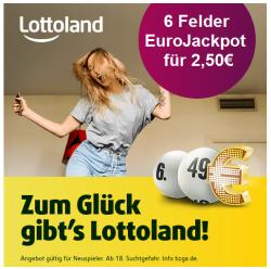 Heute 10 Mio. EuroJackpot! Bei Lottoland als Neukunde 6 Felder EuroJackpot für nur 2,50€ statt 12,50€ spielen