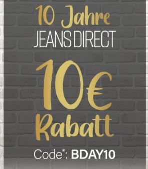 10€ Rabatt auf das gesamte Sortiment bei Jeans-Direct (50€ Mindestbestellwert)