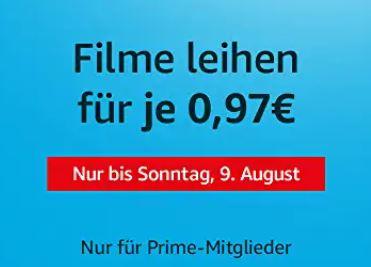 Verschiedene Filme bei Amazon Prime Video für je nur 0,97 Euro leihen