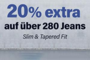 20% Extra-Rabatt auf über 280 bereits reduzierte Jeans bei Jeans-Direct