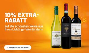 Weinvorteil: Bis zu 52% Rabatt auf ausgewählte Weine + 10% Extra-Rabatt & gratis Versand