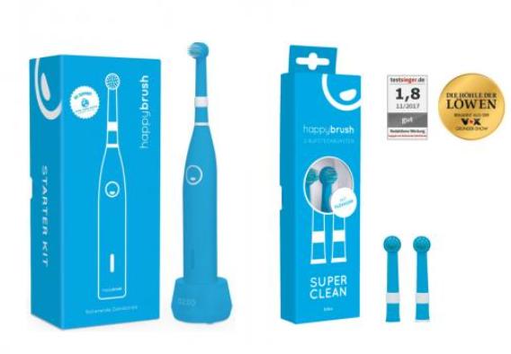 Happybrush Elektrische rotierende Zahnbürste R1 blau + 2x Ersatzbürsten für nur 13,99 Euro inkl. Versand