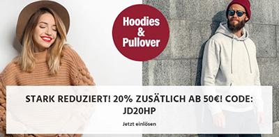 20% Rabatt auf Pullover & Hoodies bei Jeans Direct (ab 50,- Euro MBW)