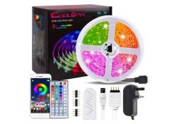 Coolapa 20m RGB LED-Strip mit Netzteil und Fernbedienung für 19,99€