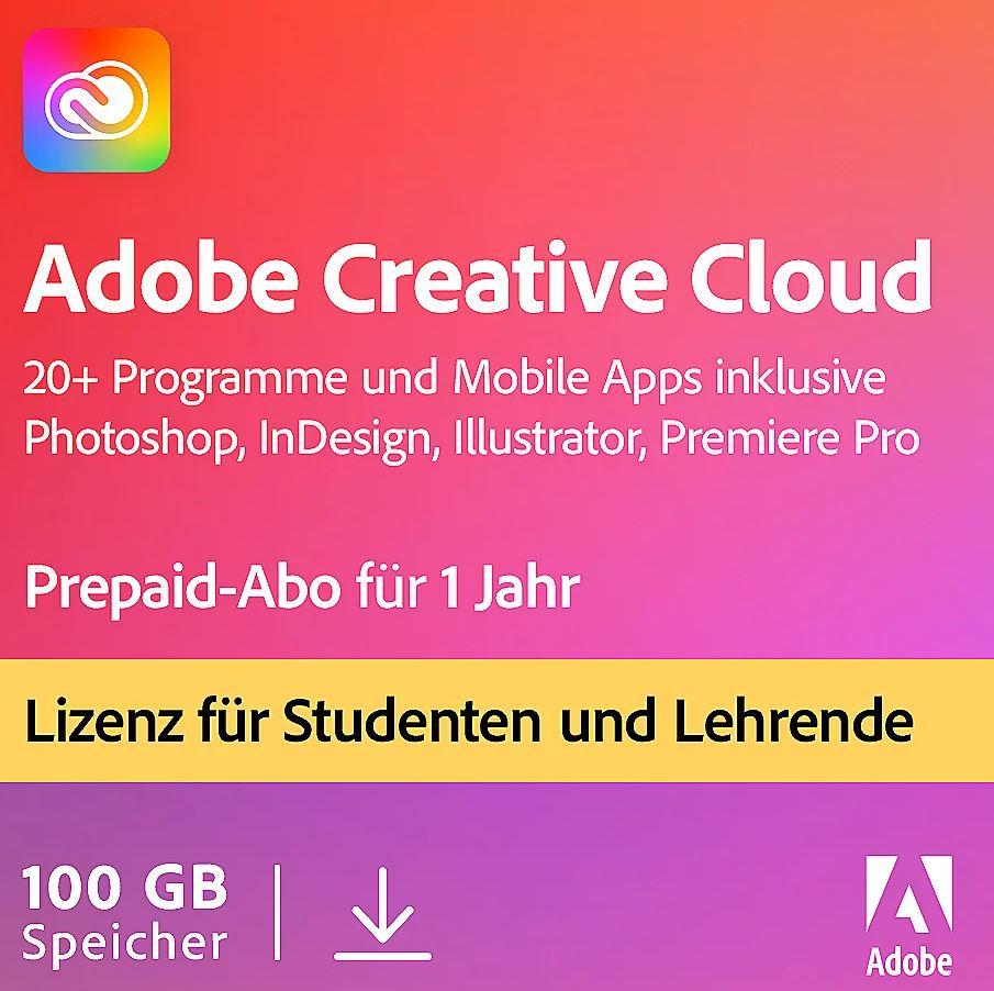 Adobe Creative Cloud Student & Teacher Edition Jahreslizenz für nur 129,90 Euro