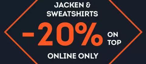 20% Rabatt auf ausgewählte Jacken und Sweatshirts im SportScheck Onlineshop
