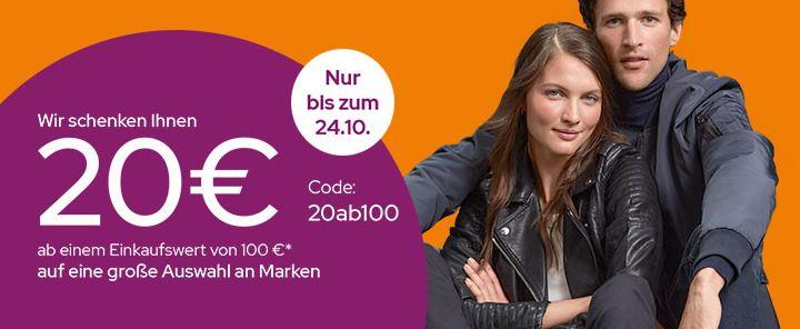 Galeria Aktion mit 20€ Rabatt auf viele beliebte Marken (MBW: 100€)