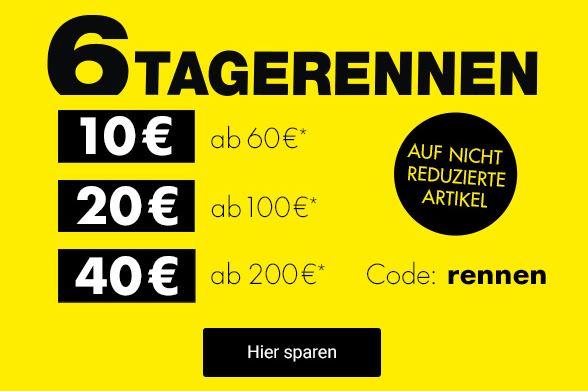 6 Tage Rennen bei Galeria Kaufhof mit bis zu 40€ Rabatt (je nach Bestellwert)