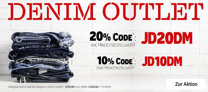 Bis zu 20% Rabatt auf Denim Produkte bei Jeans Direct- auch auf Sale Artikel