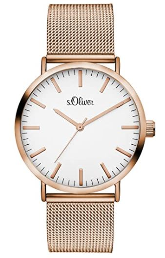 s.Oliver SO-3146-MQ Damen Analog Quarz Armbanduhr mit Edelstahlarmband für nur 39,- Euro inkl. Versand