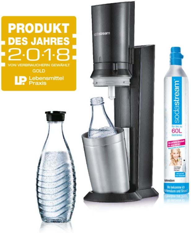 SodaStream Crystal 2.0 Wassersprudler mit CO2-Zylinder und 2x Glaskaraffen, titan als B-Ware für nur 69,99 Euro inkl. Versand