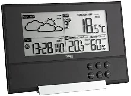 TFA Dostmann Pure Funk-Wetterstation, mit extra flachem Design, Wetterprognose, Außentemperatur, Raumklima für nur 24,99 Euro inkl. Versand