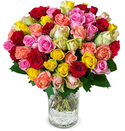 """Blumenstrauß mit 41 bunten Rosen """"Crazy Christmas"""" für nur 25,98 Euro bei Blumeideal"""
