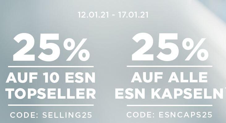 25% Rabatt auf alle ESN Topseller und 25% Rabatt auf alle ESN Kapseln im Fitmart Onlineshop