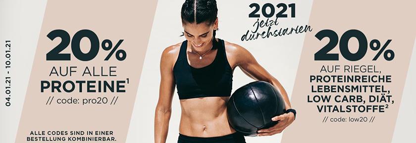 20% Rabatt auf alle Proteine und 20% auf proteinreiche Lebensmittel, Low Carb, Diät und Vitalstoffe bei Fitmart.de