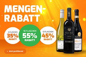 Bis zu 55% Extra-Rabatt auf nicht reduzierte Weine bei Weinvorteil – versandkostenfrei ab 65,- Euro