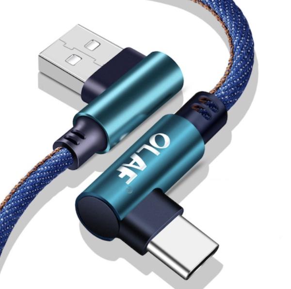 OLAF 5V 2.4A 90 Grad Schnelllade Kabel – USB auf USB C oder Micro USB ab 25 cm ab 0,82 Euro
