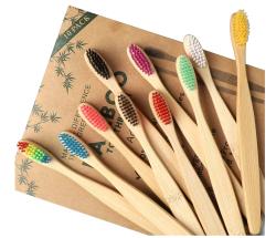 10er Pack biologisch abbaubare GeekerChip Bambus Zahnbürsten