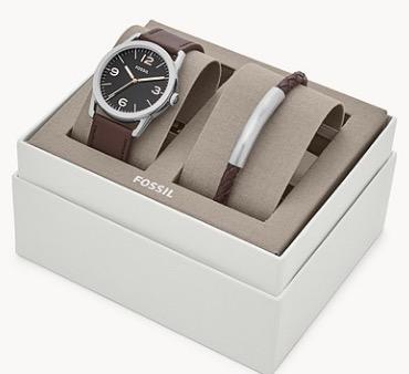 Nur noch wenige verfügbar: Fossil Set Herrenuhr Ledger Leder Braun + Armband BQ2465SET für 48,30 Euro