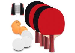 Berhaya Tischtennis Set mit 4 Schlägern, Tischtennis-Netz und 8 Bällen